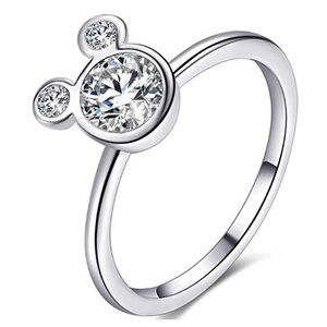 Silver Mickey Minnie Mouse Ring CZ  Sterling 925